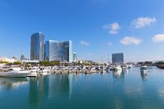 Marina Bay panorama in San Diego, California USA. City view at Marina Bay on a sunny day in late autumn royalty free stock images