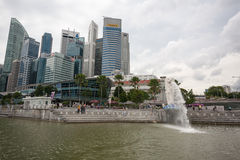 Marina Bay quay and Central Business District Royalty Free Stock Image