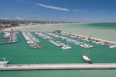 Marina Bay in Rimini, Italien Lizenzfreie Stockfotos
