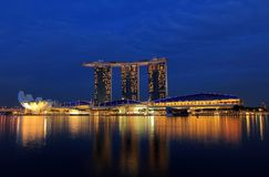 Marina Bay Sand at blue hour Stock Photo