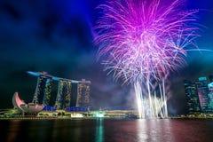 Marina bay sand firework Stock Image
