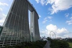 Marina Bay Sand hotel against blue sky background. stock images