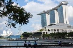 Marina Bay Sand hotel against blue sky background. stock photo