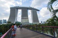 Marina Bay Sand hotel against blue sky background. stock image