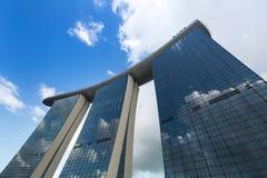 Marina Bay Sand hotel against blue sky background stock image