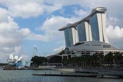 Marina Bay Sand hotel against blue sky background. royalty free stock images