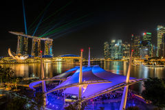 Marina bay sand hotel with laser show Royalty Free Stock Image