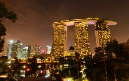Marina Bay Sand Night View Fotografie Stock