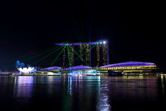 Marina Bay Sand Wonder Full night show Stock Image