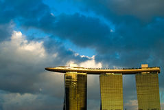 Marina Bay Sands. The newly built casino along the shores of Marina Bay, Singapore. Photographed against the sunset reflections and sky Stock Photo