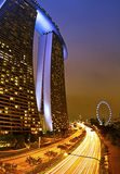 Marina Bay Sands. Is an integrated resort fronting Marina Bay in Singapore. Developed by Las Vegas Sands, it is billed as the world's most expensive standalone Stock Images