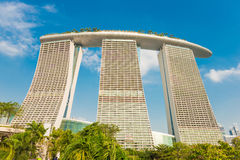 The Marina Bay Sands against blue sky Stock Photography