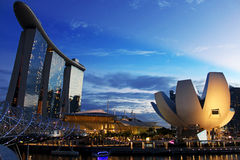 Marina Bay Sands and ArtScience Museum. A shot of the famous Singapore buildings - Marina Bay Sands and ArtScience Museum Royalty Free Stock Images