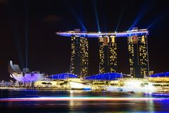 Marina Bay Sands and Artscience at night. Panoramic view of the Marina Bay Sands, Singapore Royalty Free Stock Photography