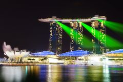 Marina Bay Sands and Artscience at night. Stock Photography