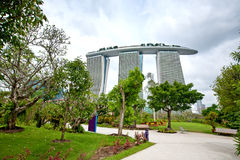 Marina Bay Sands as seen from Gardens by the Bay, SINGAPORE Stock Photo