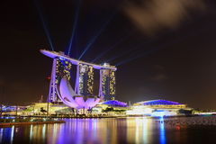 Marina bay sands. Be awe by the night view of MBS with their performance and laser light vector illustration