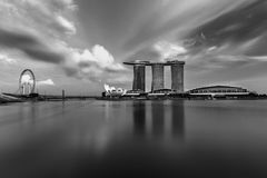 SINGAPORE, SINGAPORE - NOV 19, 2017: Marina Bay Sands, Singapore in Black and white. Marina Bay Sands Casino Hotel in long exposure black and white Royalty Free Stock Photography