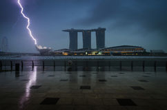 Marina bay sands with clouds and thunder lightnings and storm Stock Photography