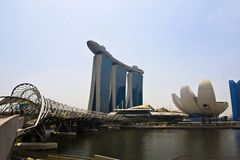 Marina Bay Sands complex and ArtScience Museum Royalty Free Stock Images