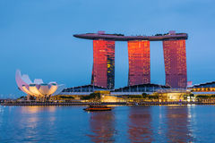 The Marina Bay Sands complex during sunset time in Sigapore Royalty Free Stock Image