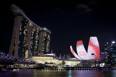 Marina Bay Sands e Art Science Museum foto de stock