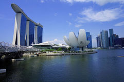 Marina Bay Sands e lungomare, Singapore Fotografie Stock