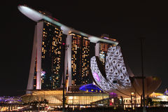 Marina Bay Sands en Art Science Museum royalty-vrije stock fotografie