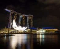 Marina Bay Sands en el distrito financiero de Singapur Imágenes de archivo libres de regalías