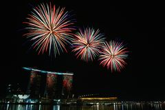 Marina Bay Sands Fireworks Display Stock Photography