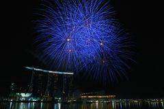Marina Bay Sands Fireworks Display Royalty Free Stock Photography