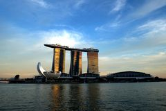 Marina Bay Sands in Golden Sunlight Royalty Free Stock Images