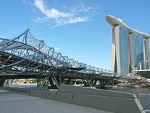 Marina Bay Sands & The Helix Bridge. Ideal for publications promoting Singapore's tourism industry Royalty Free Stock Images