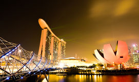 Marina bay sands with helix bridge  and artscience museum Stock Photography