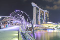 Marina Bay Sands and Helix Bridge night view Singapore Stock Images