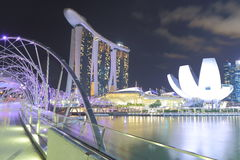 Marina Bay Sands and Helix Bridge night view Singapore Stock Photo