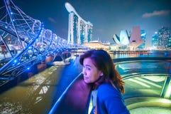 Marina Bay Sands and Helix bridge Stock Photography
