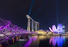 Marina bay sands and helix bridge , Singapore 17/10/2016. Waiting to light and show royalty free stock photography
