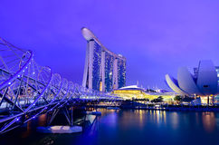 Marina bay sands and helix bridge in twilight time. Beautiful landscape of marina bay sands and helix bridge in Singapore in twilight time Stock Image