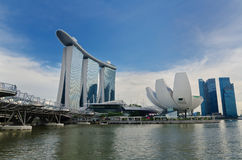 Marina Bay Sands and Helix Bridge Stock Photo