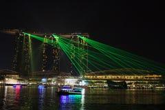 Marina Bay Sands-het nachtlicht toont royalty-vrije stock fotografie