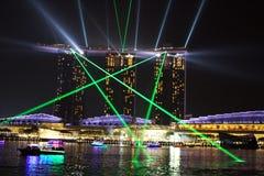 Marina Bay Sands-het nachtlicht toont royalty-vrije stock afbeelding