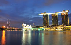 Marina Bay Sands Hotel. An early morning photo of the Marina Bay Sands Hotel and Integrated Resort with the Singapore Arts and Science Museum and the Singapore Stock Image