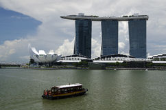 Marina Bay Sands Hotel and Art Science Museum Stock Photos