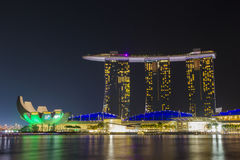 Marina Bay Sands hotel and ArtScience Museum in the night light Royalty Free Stock Photos