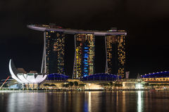 Marina Bay Sands hotel and ArtScience museum at night in Singapore Royalty Free Stock Image