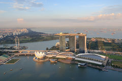 Marina Bay Sands hotel, ArtScience museum and Singapore Flyer Royalty Free Stock Images