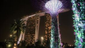 Marina Bay Sands Hotel and Beautiful Supertrees in Singapore