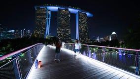 Marina Bay Sands Hotel dai giardini dalla baia stock footage