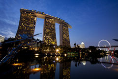 Marina bay sands hotel in dusk Stock Photos